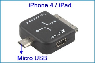 Adaptador Doble. Mini USB a Micro USB - iDock
