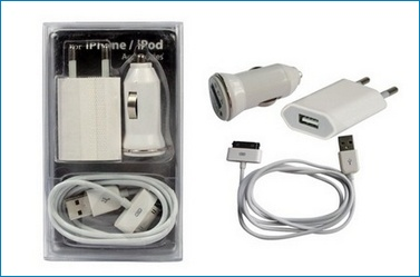3 en 1 Cargador Pared y Coche, iPhone , iPod . Blanco