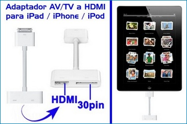 Adaptador de HDMI para iPad 2/1 , iPhone 4, iPod Touch 4