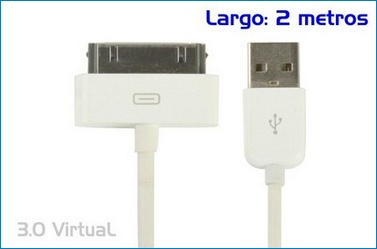 Cable USb iPhone / iPod / iPad . 2 metros . Blanco