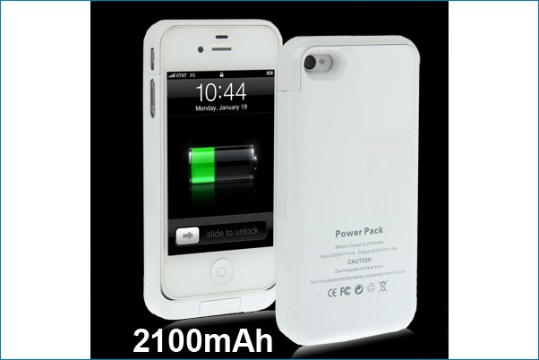 Funda bateria power bank para iphone 4 4s blanca for Funda bateria iphone