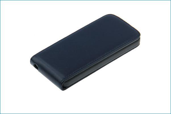 Funda piel con tapa para iphone 5 azul marino - Funda de piel para iphone 5 ...