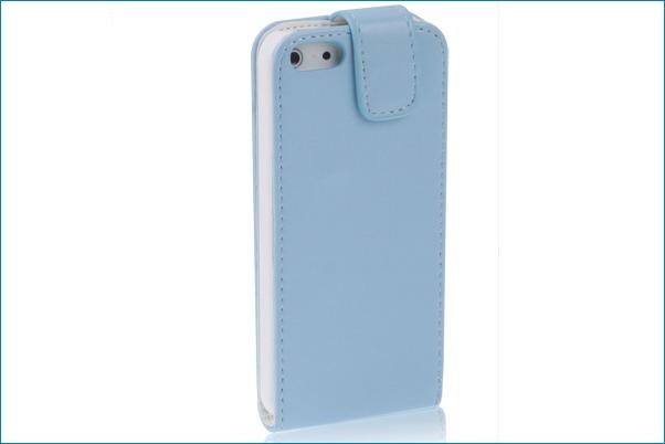 Funda piel con tapa para iphone 5 celeste - Funda de piel para iphone 5 ...