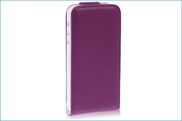 Funda piel con tapa para iphone 5 lila - Funda de piel para iphone 5 ...