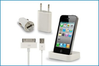 4 en 1 Cargador iPhone 4 - 4S + Base