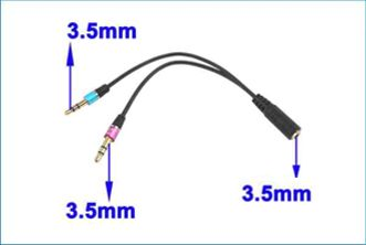 Adaptador 2 Jack 3.5mm para ordenador PC / Port�til