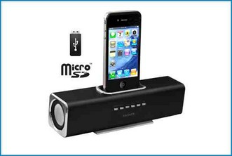 ALTAVOZ BASE REPRODUCTOR PORTATIL - IPHONE IPOD . NEGRO