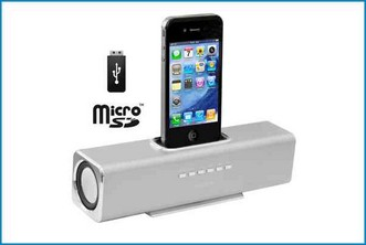 ALTAVOZ BASE REPRODUCTOR PORTATIL - IPHONE IPOD . PLATA