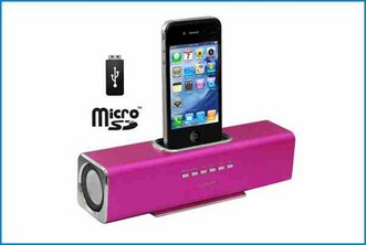 ALTAVOZ BASE REPRODUCTOR PORTATIL - IPHONE IPOD . ROSA