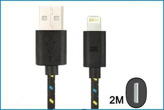CABLE USB IPHONE 5 / IPAD MINI LIGHTNING . 2M NEGRO