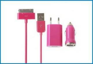 3 en 1 Cargador Pared y Coche, iPhone , iPod . Fucsia