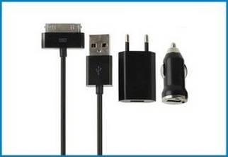 3 en 1 Cargador Pared y Coche, iPhone , iPod . Negro