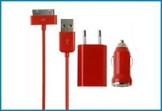3 en 1 Cargador Pared y Coche, iPhone , iPod . Rojo