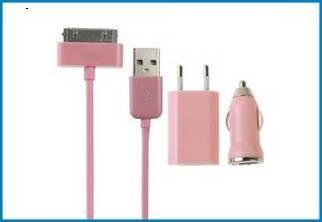 3 en 1 Cargador Pared y Coche, iPhone , iPod . Rosa