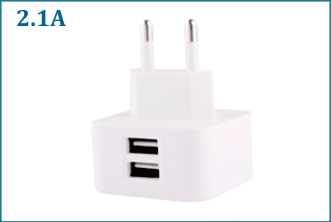 Cargador Pared USB Doble 2.1A 10W . Blanco