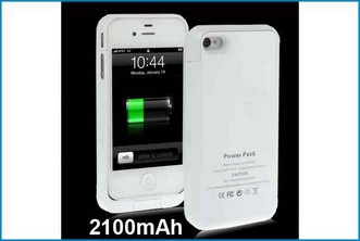 FUNDA BATERIA POWER BANK PARA IPHONE 4 / 4S . BLANCA