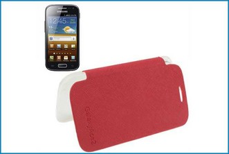 FUNDA FOLIO HORIZONTAL SAMSUNG GALAXY ACE 2 . ROJA