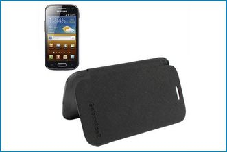 FUNDA FOLIO HORIZONTAL SAMSUNG GALAXY ACE 2 . NEGRA