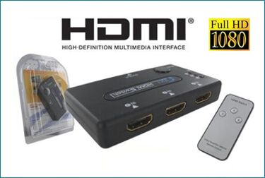 Switch HDMI de 3 Puertos con Mando . 1080P